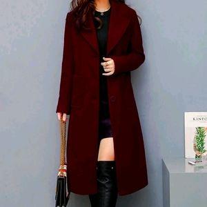 Vintage wine 100% lambswool long coat size 10